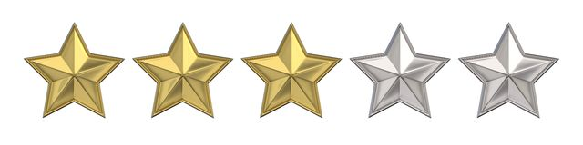 Voting concept. Rating three golden stars. 3D render Stock Photos