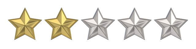 Voting concept. Rating two golden stars. 3D render Stock Photography