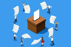 Voting choice vote concept vector. Voting concept representing vote choice. People putting big paper into vote box. Isometric design vector illustration Royalty Free Stock Photography