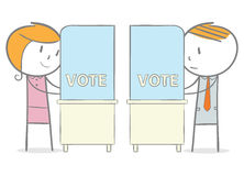 Voting. Doodle stick figure: Man and woman in a voting booth stock illustration