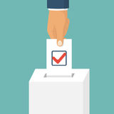Voting, election concept. Vector illustration flat design style. Man hold in hand bulletin, puts in ballot box . Casting vote. Politics poll, choice. Makes Royalty Free Stock Photo