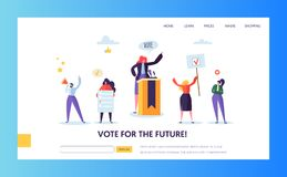 Voting Elections Landing Page Template. People. Voting Elections Landing Page Template. Business People Characters Political Meeting Concept for Website or Web vector illustration