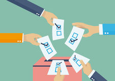 Voting in elections. Elections voting, politics and elections illustration, hands leaving votes Royalty Free Stock Photography