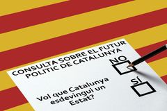 Bulletin for voting on Catalonia sign background. Democracy Freedom Independence Concept. Voting in elections or referendum, ballot for voting on the background royalty free stock photos
