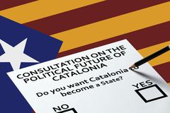 Bulletin for voting on the National Catalonia flag background. Democracy Freedom Independence Concept. Voting in elections or referendum, ballot for voting on stock images