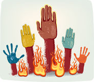 Voting fire hands. Isolated on grey metallic background Stock Photo