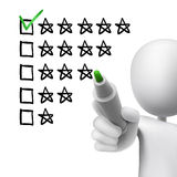Voting five stars by 3d man. Over white Stock Photography