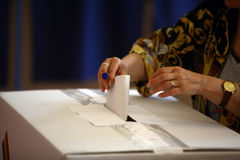 Voting hand royalty free stock photos