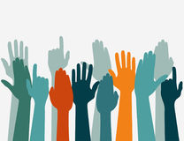 Voting hand Raised up, Election concept. Arms in the top. Hands up Colors, Voting hand Raised up, Election concept. Arms in the top. Vector Royalty Free Stock Photos