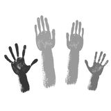 Voting hands. Voting grey hands isolated isolated on white background, vector illustration Stock Images