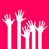 Voting Hands - Paper Cut Palm Hands and Arms Set. Vector Illustration on Pink Background Stock Images