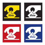 Voting icon / sign - hand holding a voting slip. Elections concept icon / sign / pictogram Royalty Free Stock Photo
