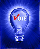 Voting Idea. Digital concept of a Good Idea, Vote! Digital illustration of a light bulb on a burst background Royalty Free Stock Images