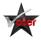 Voting illustration. A black star featuring a voting message Stock Image