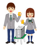 Voting - Japanese High School Student Couple - Long Sleeved Stock Image