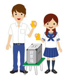 Voting - Japanese High School Student Couple - Short Sleeved Royalty Free Stock Photo
