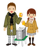 Voting - Japanese High School Student Couple - Warm Clothing Royalty Free Stock Photo