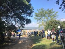 Voting line in 2019 South African elections stock photo