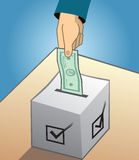Voting with money and political bribing  illustration Royalty Free Stock Image