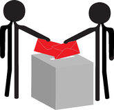 Voting people. People with the enveloppe vor voting Royalty Free Stock Photo