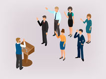 Voting people before the speaker in the tribune Royalty Free Stock Photos