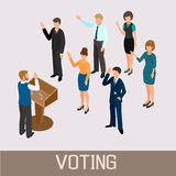 Voting people before the speaker in the tribune Royalty Free Stock Photography