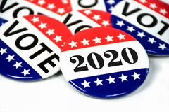 Voting pins for 2020 stock photo