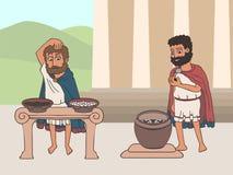Voting process in ancient greece cartoon. Voting process in ancient greece by placing pebbles in urn, funny cartoon vector illustration of democracy origins stock illustration