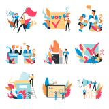 Voting process, people with loudspeakers and flags set. Vector. Election with candidates taking speeches, electors with ballots and scree with general vector illustration