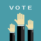 Voting raised hands. Poster, vector illustration Royalty Free Stock Photos