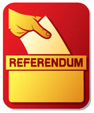 Voting in the referendum. Illustration of a ballot box (hand putting a voting ballot in a slot of box, mans hand down the ballot in the ballot box, hand voting Stock Image