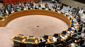 Voting in Security Council chamber United Nations stock footage