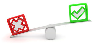 Voting seesaw. Green tick and red cross balancing on the seesaw Royalty Free Stock Images