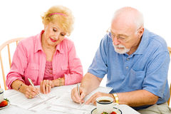Voting - Seniors Mark Ballots Royalty Free Stock Photos