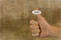 Voting sticker on a thumb Stock Photo