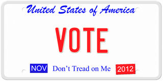 Voting in the U.S.A. An imitation United States of America license plate with November 2012 stickers and Vote written on it making a great politics or election Stock Photography