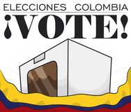 Voting Urn behind Colombian Flag for Election Rally, Vector Illustration Stock Photo
