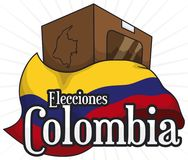 Urn with Colombia Flag for Electoral Rally, Vector Illustration. Voting urn in paperboard and map with Colombian flag ready for national elections -written in Royalty Free Stock Photos