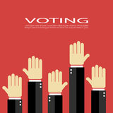Voting vector poster. Voting poster, vector raised hands Stock Photos