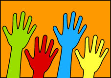 Voting or Volunteer Hands Poster. Lifted hands and arms poster. Hands can be voting, volunteering, waving or saying goodbye. Space to put text above hands or Royalty Free Stock Images