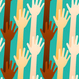 Voting or Volunteering Hands Seamless Background. Lifted hands and arms background. May be voting, volunteering, waving or saying goodbye.\\\\r\\\\nSeamless Tile Stock Photos
