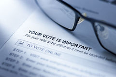 Voting Vote Form Business. A voting form with reading glasses still life Royalty Free Stock Photography