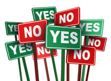 Voting Yes Or No. With opposing and conflicting green and red campaign signs representing politics and important political issues that divide social opinion Royalty Free Stock Image
