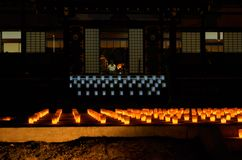 Votive candle light at Japanese temple, Kyoto Japan. Votive candle lanterns for the ancestor in the ceremonial Obon evening at the temple in summer, Kyoto Japan Royalty Free Stock Image