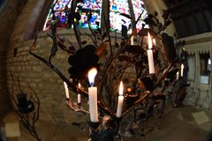 Votive candle in oxford University town christ church Royalty Free Stock Photo