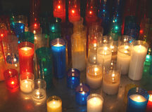 Votive candles. In a Barcelona cathedral, Spain royalty free stock photos