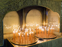 Votive candles in a Greek Orthodox Church Royalty Free Stock Photos