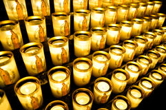 Votive candles at Notre Dame Stock Images