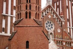 The Votive Church and Cathedral of Our Lady of Hungary Szeged. Detail stock photography