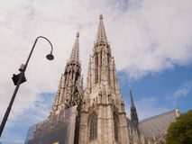 Vienna, Austria - August 13, 2018: Votive Church, neo-gothic church, the second-tallest church in Vienna. Votive Church, neo-gothic church, the second-tallest stock photo